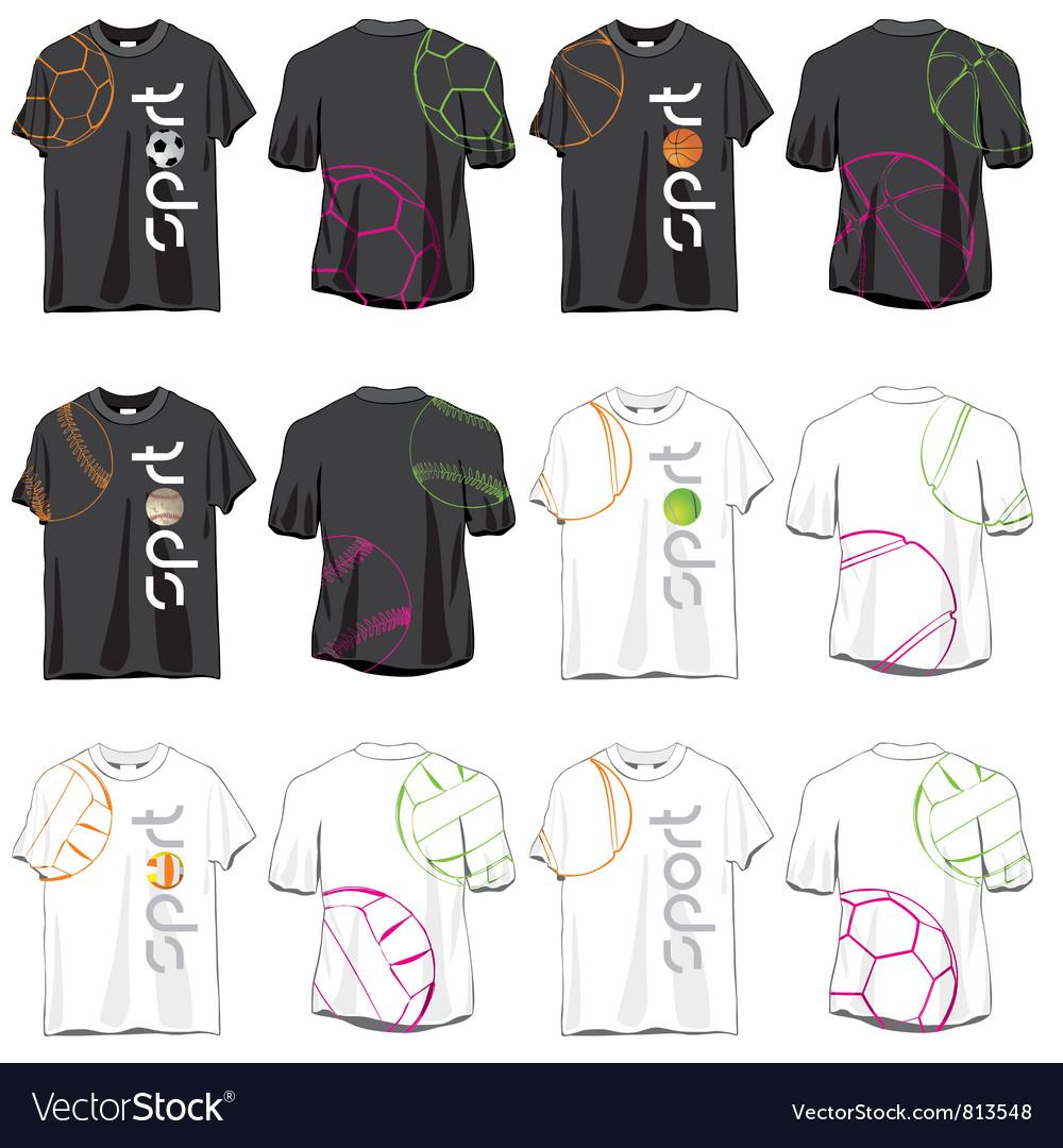 Sport T-shirts Designs Set vector image