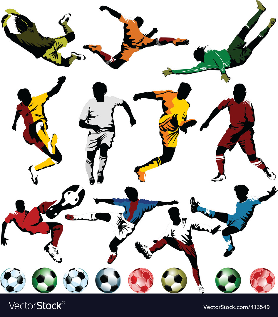 Soccer players collection Vector Image