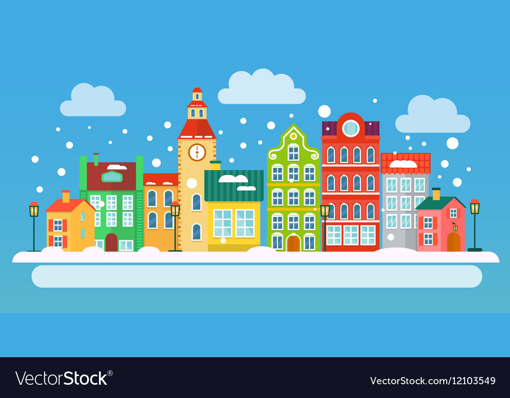 Winter urban landscape in flat style vector image