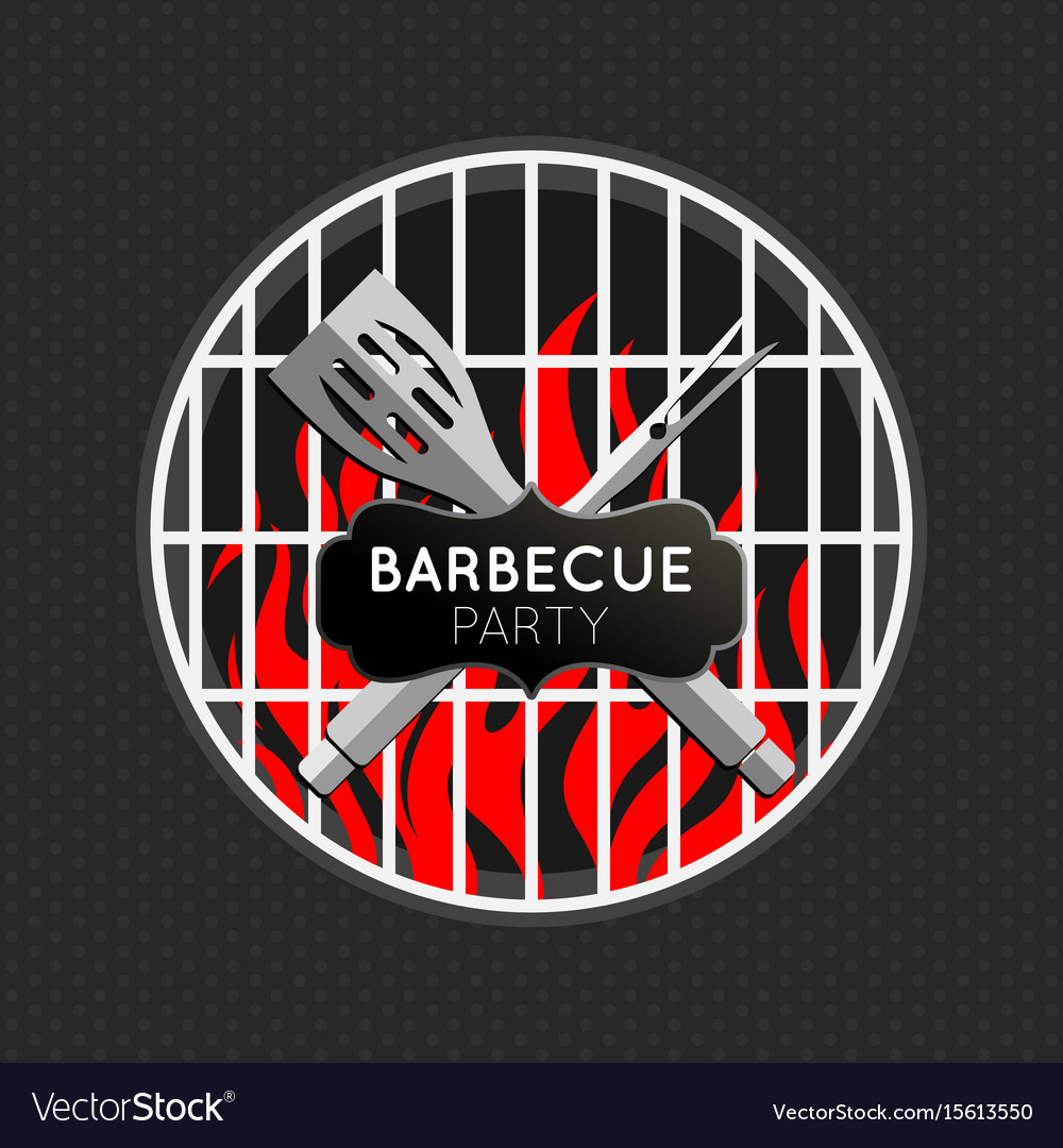 Barbecue party logo icon design template vector image