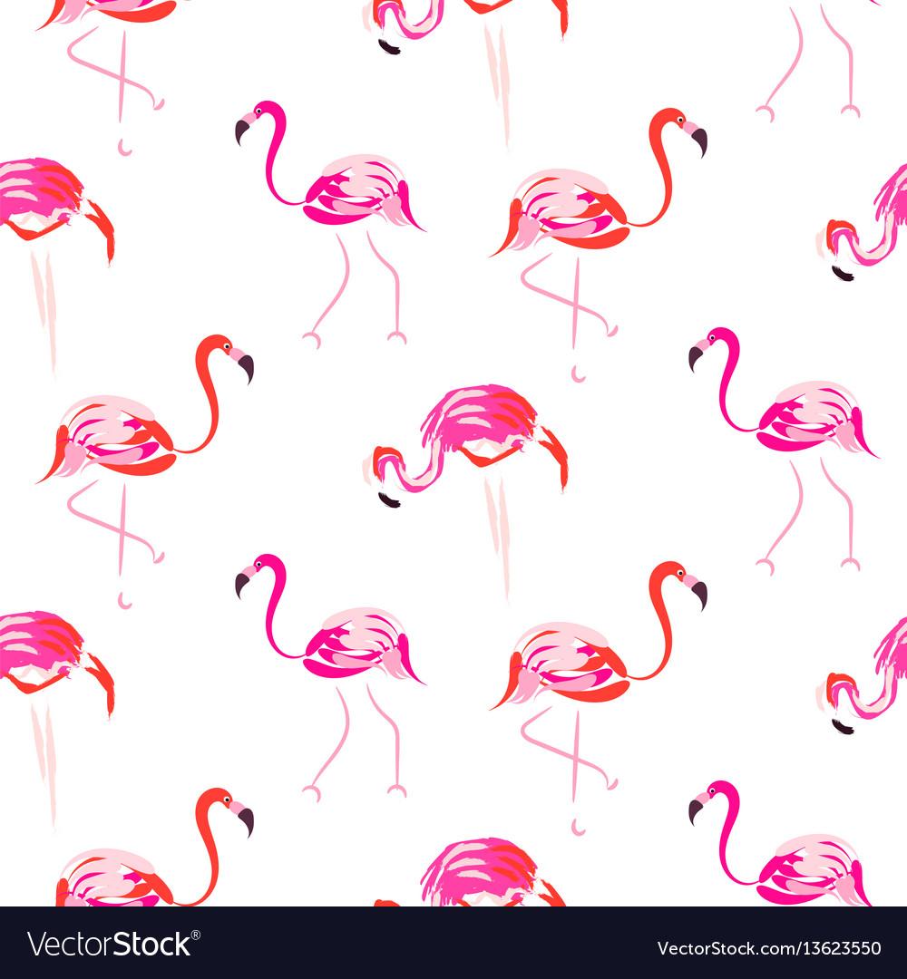 Hand drawn pink flamingo bird seamless pattern vector image
