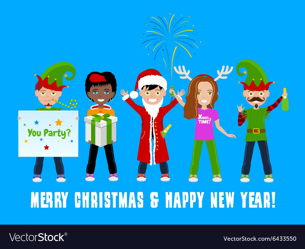 People Celebrating Christmas vector image