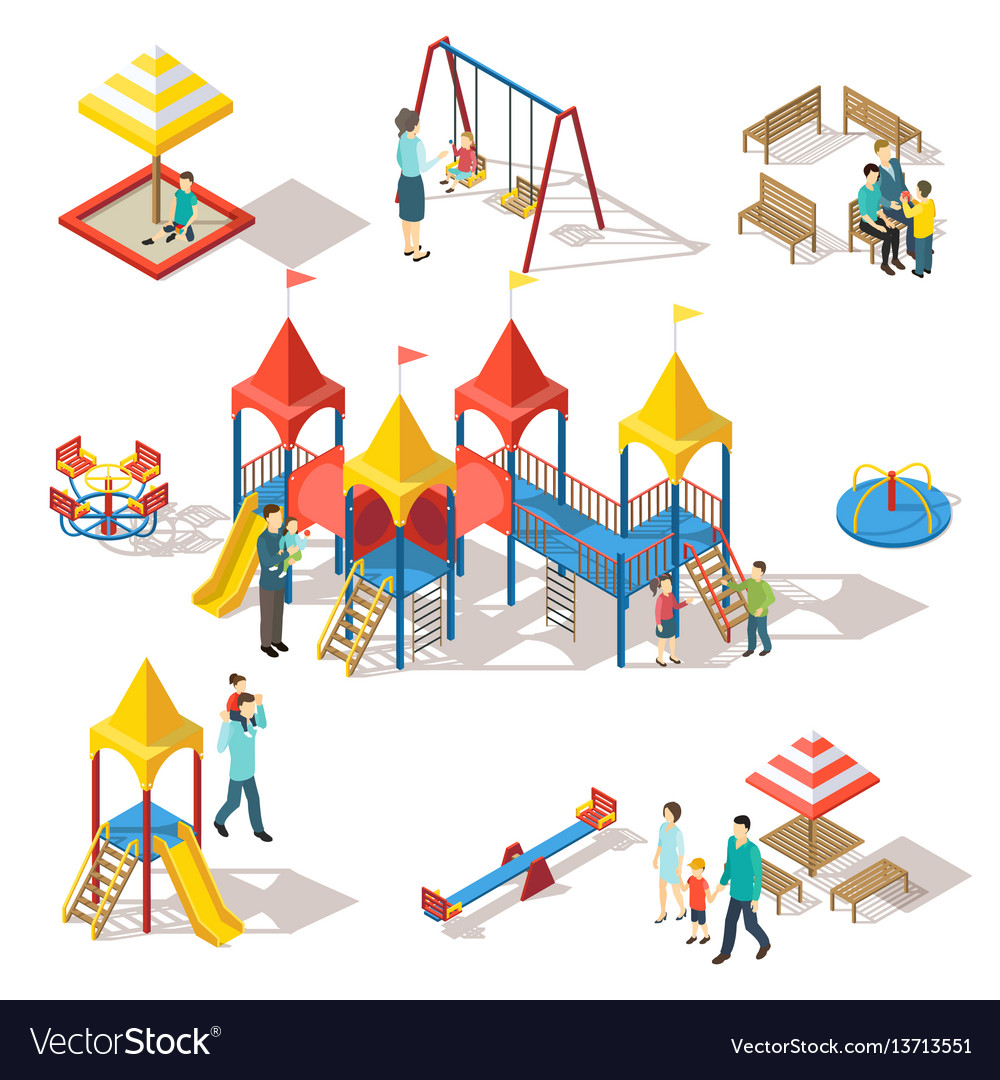 Colorful isometric playground elements set vector image