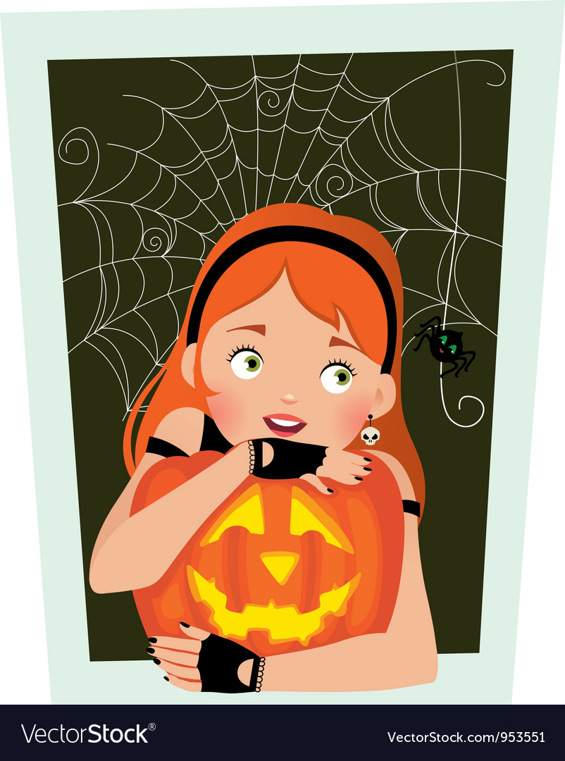 Girl with pumpkin Halloween vector image