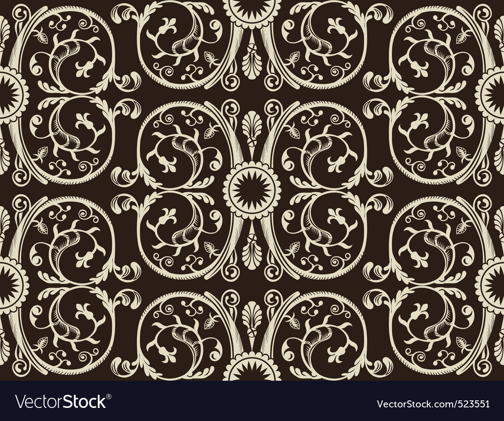 Seamless vintage heraldic wallpaper black backgrou vector image