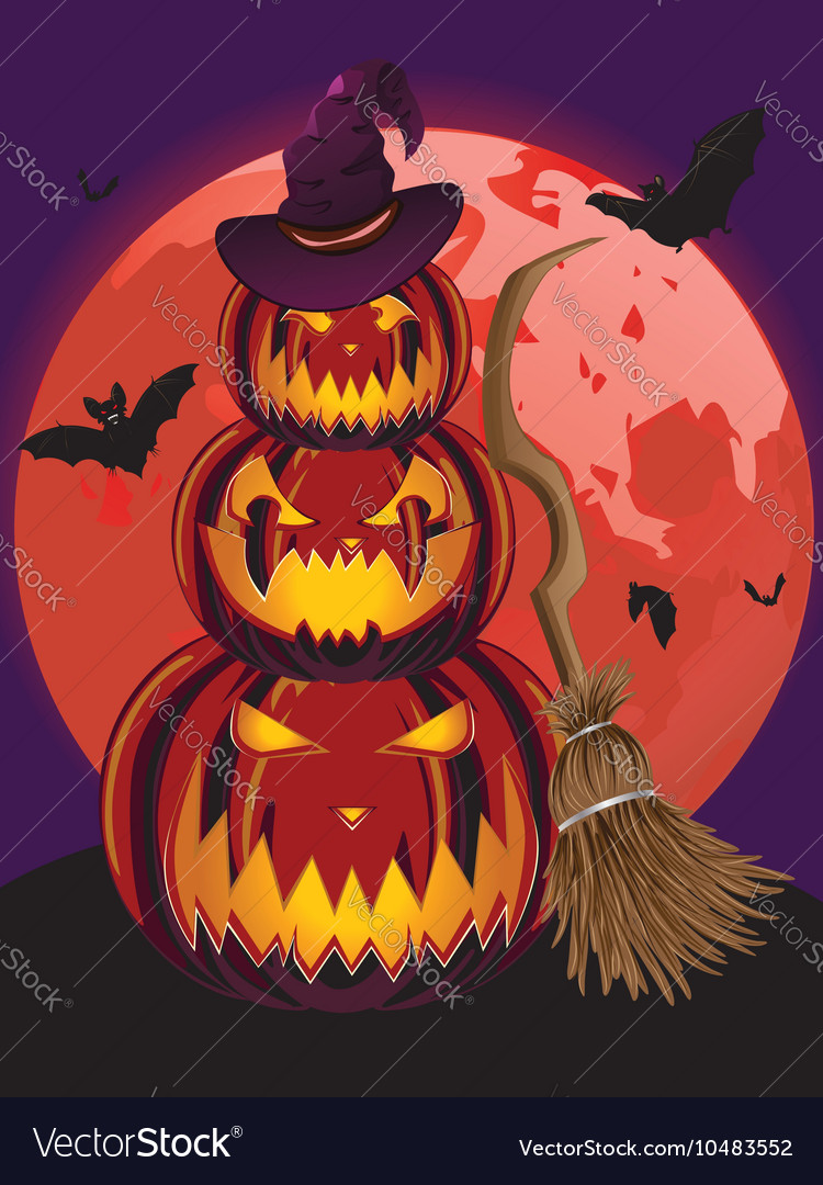Pumpkins and Red Moon vector image