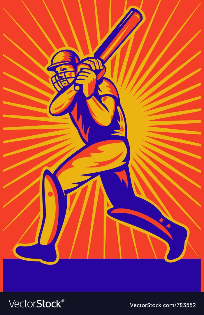 Retro cricket poster vector image