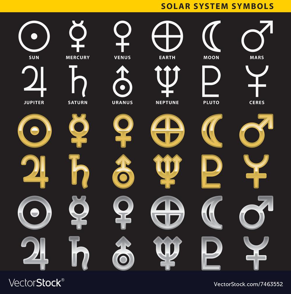 Solar system symbols royalty free vector image solar system symbols vector image buycottarizona