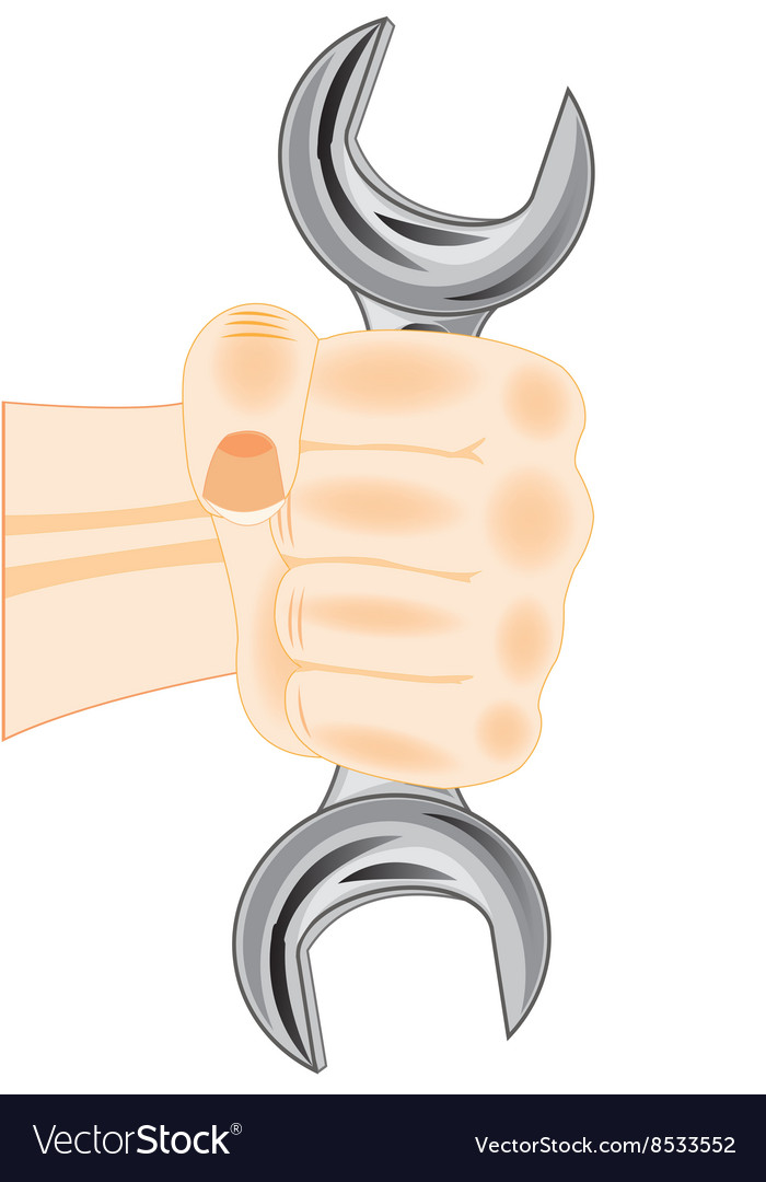 Wrench in fist vector image