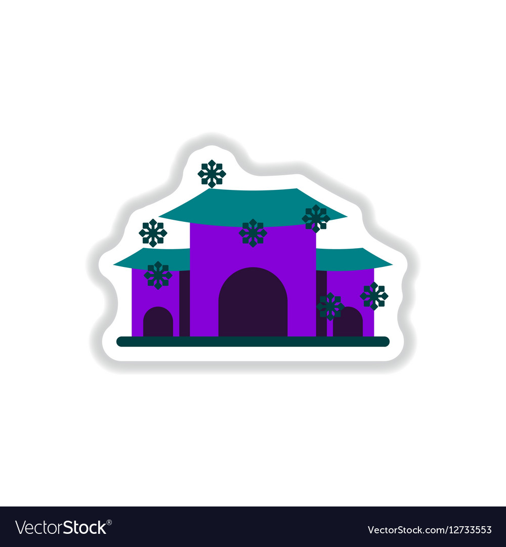 color circular frame with house in winter