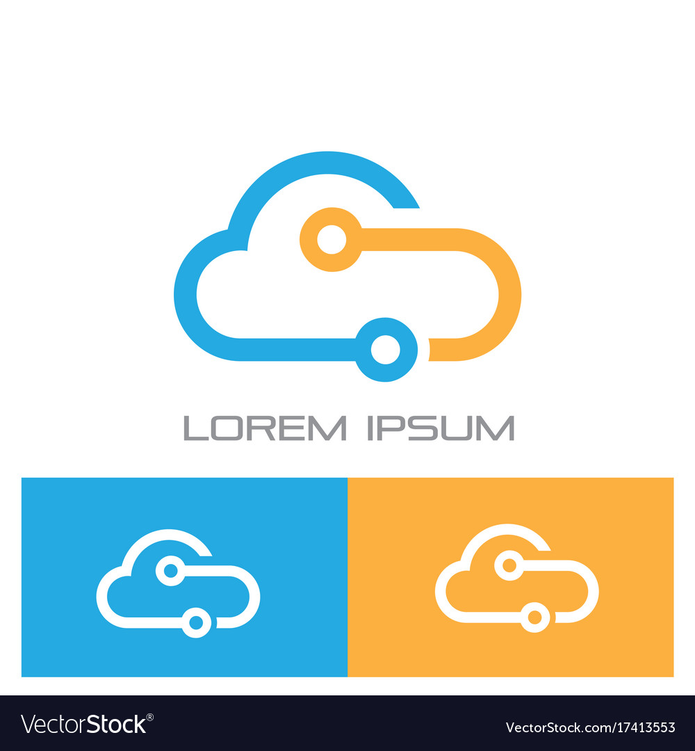 Cloud connected technology logo vector image