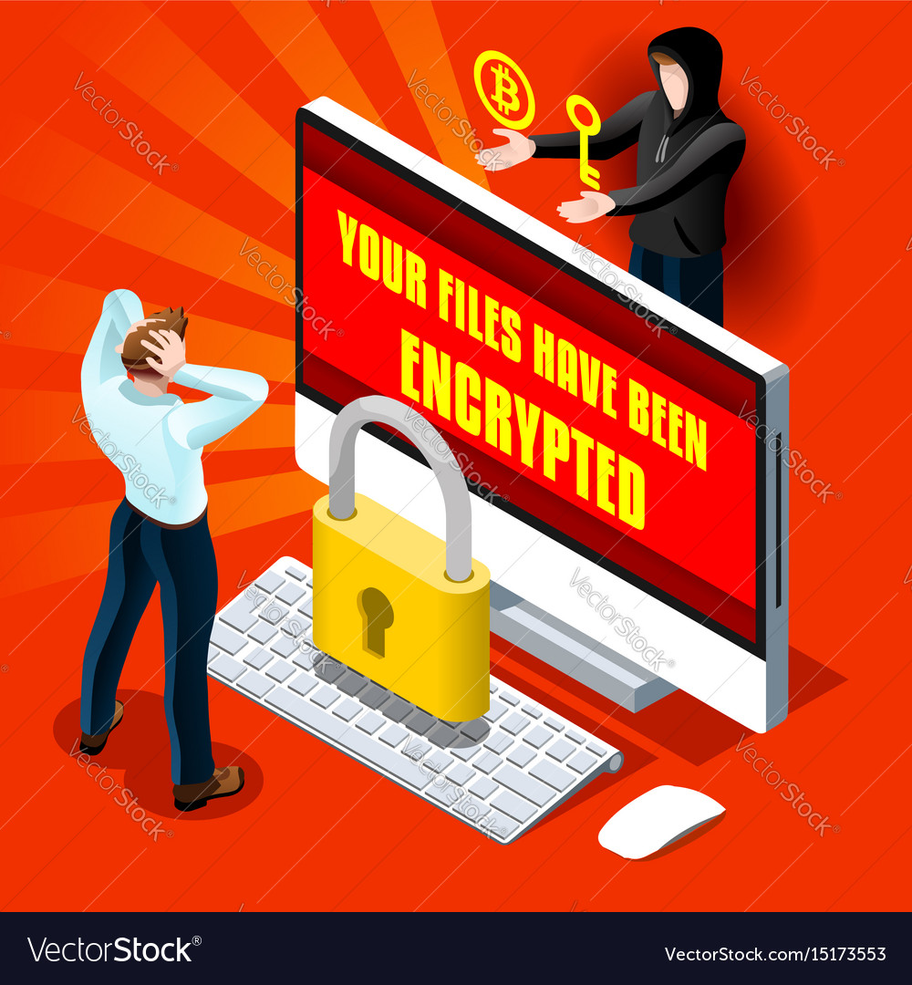 Ransomware malware cyber crime infographic vector image