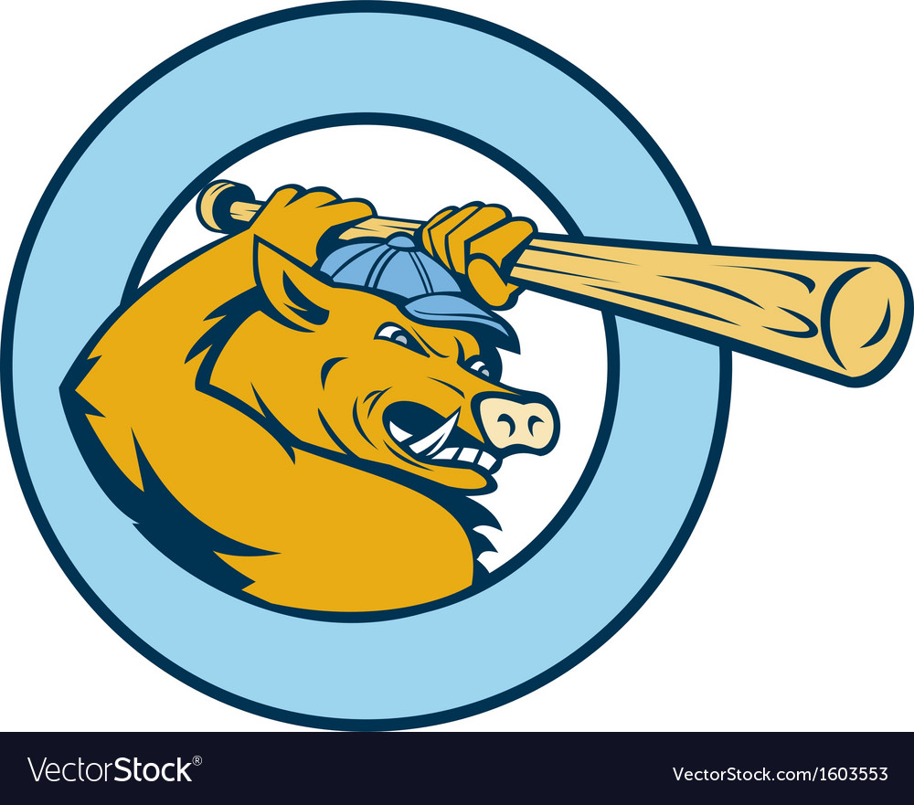 Razorback wild pig playing baseball bat vector image