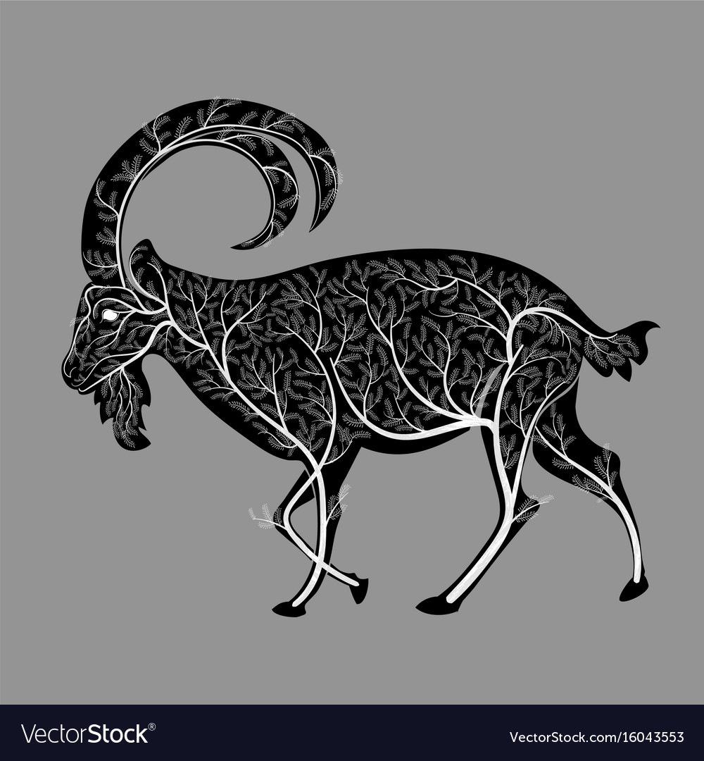 Silhouette of a goat with a texture of a bush vector image