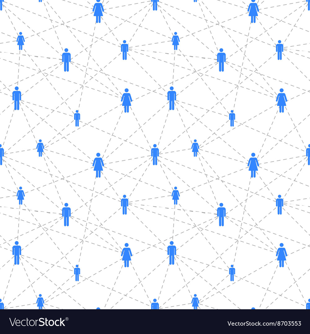 Social network with simple people icons seamless vector image
