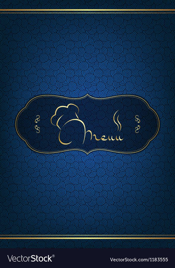 Blue restaurant menu cover vector image