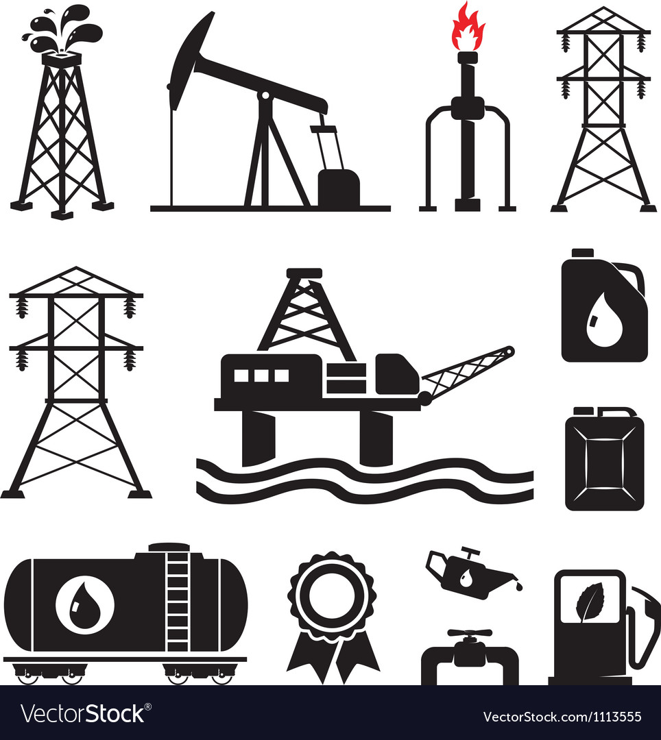 Gas oil set vector image