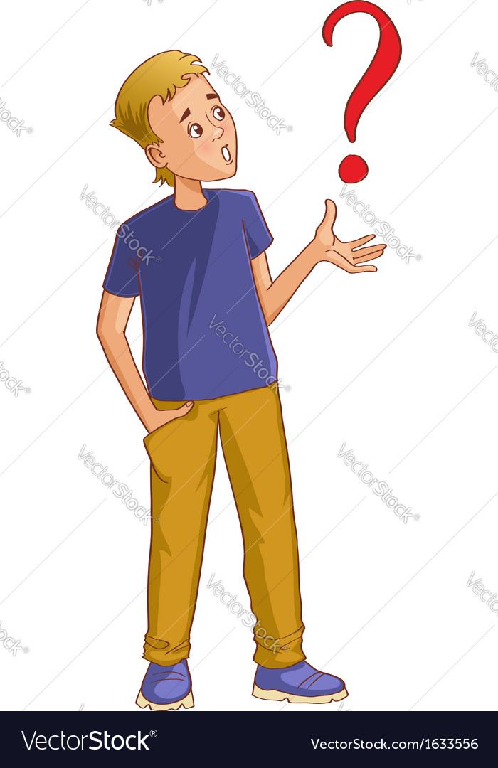 Confused cartoon man with question-mark vector image