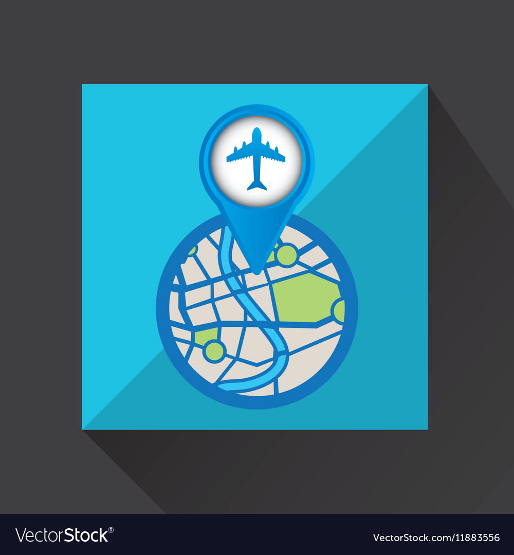 Mobile device airport gps map vector image