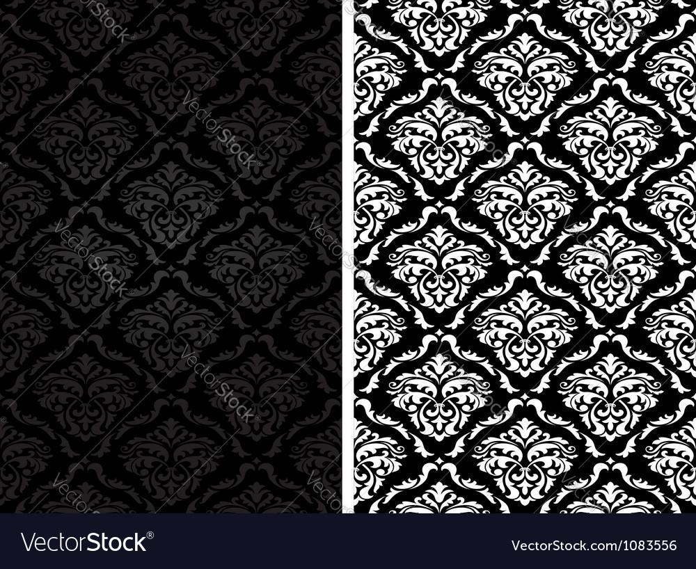 Vintage damask seamless backgrounds vector image