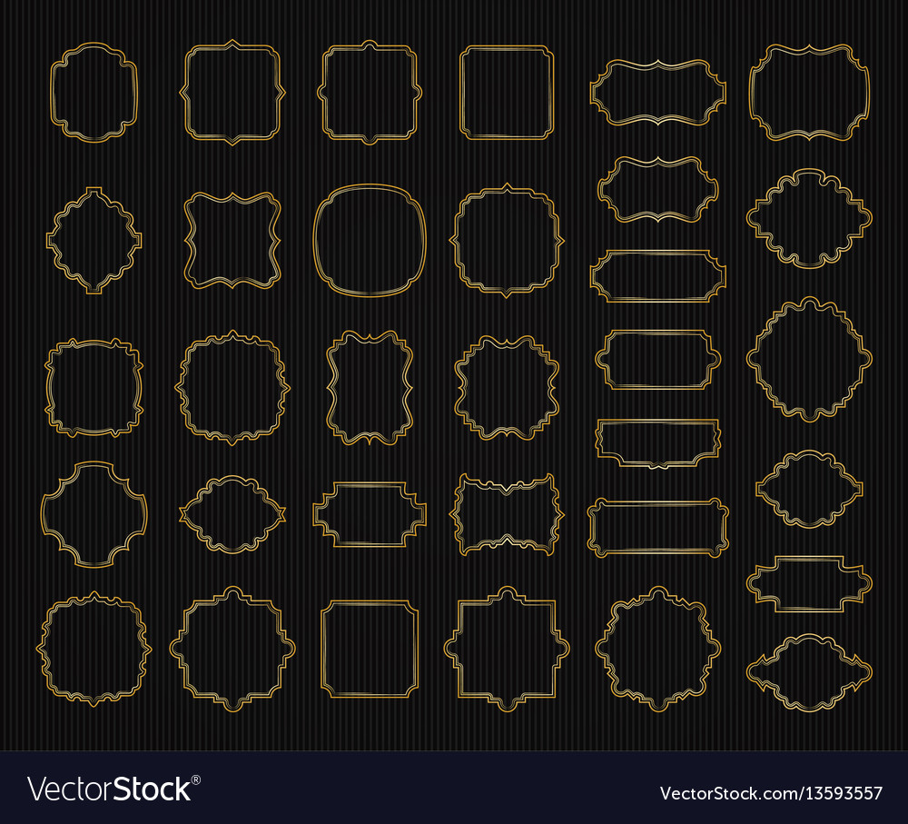 Borders and frames golden collection gold elegant vector image