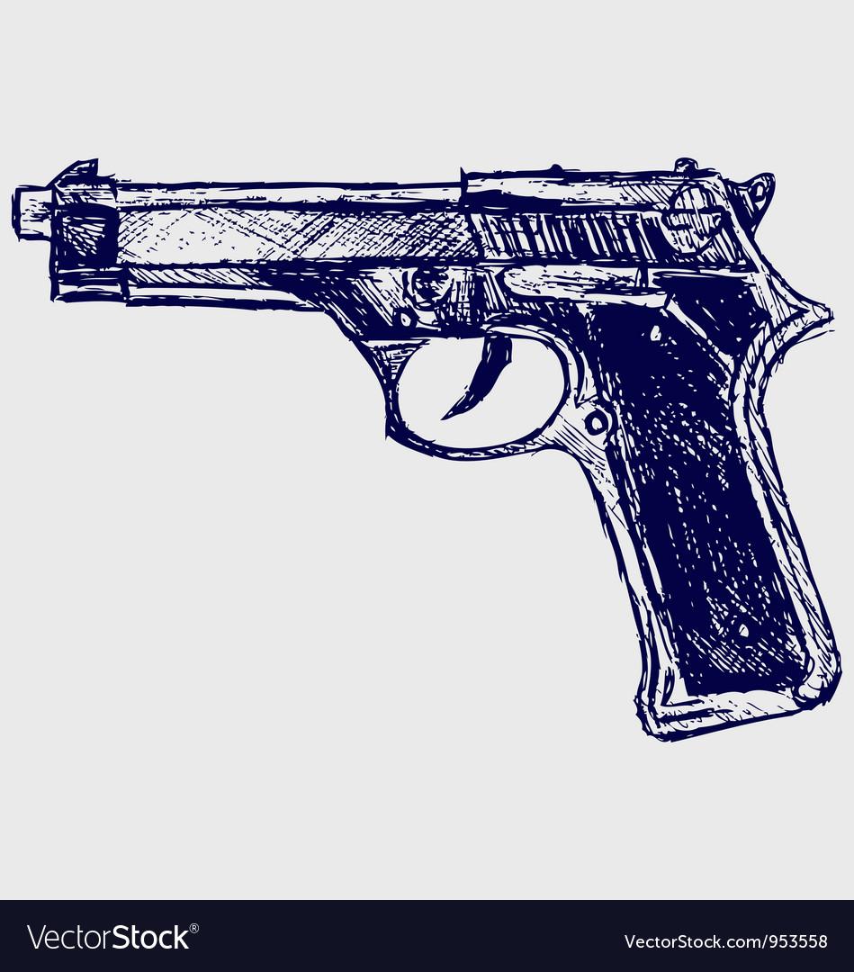 Gun black Vector Image