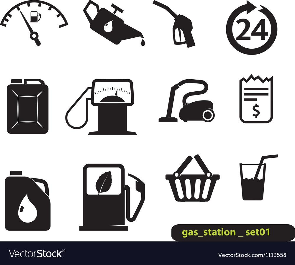 Gas station set vector image