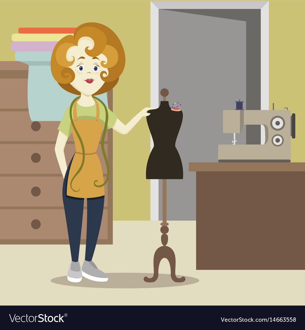 Tailor or dressmaker vector image