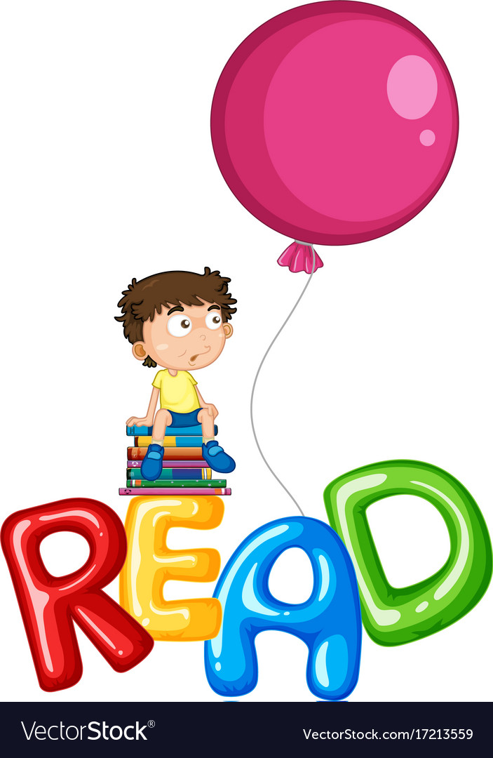 Boy and balloons for word read vector image