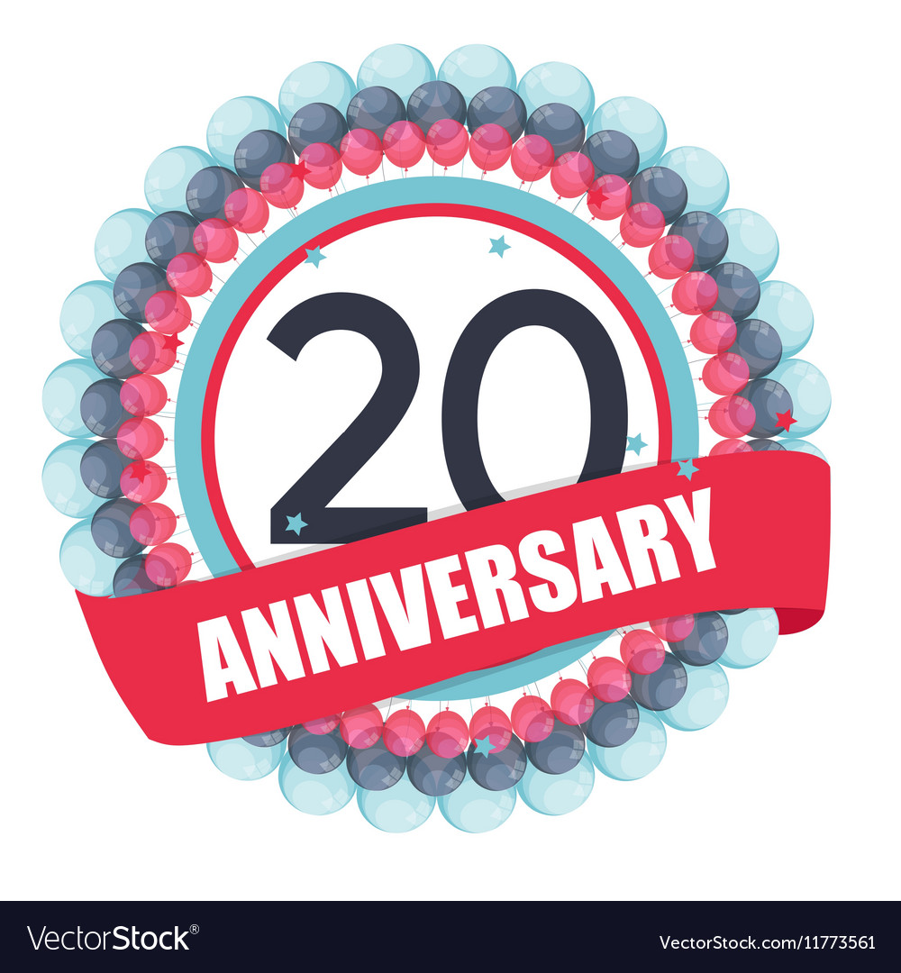 Cute Template 20 Years Anniversary with Balloons vector image