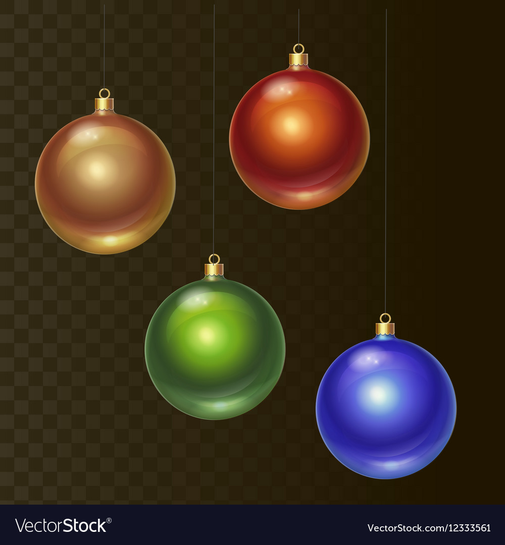Set of different colored Christmas balls vector image