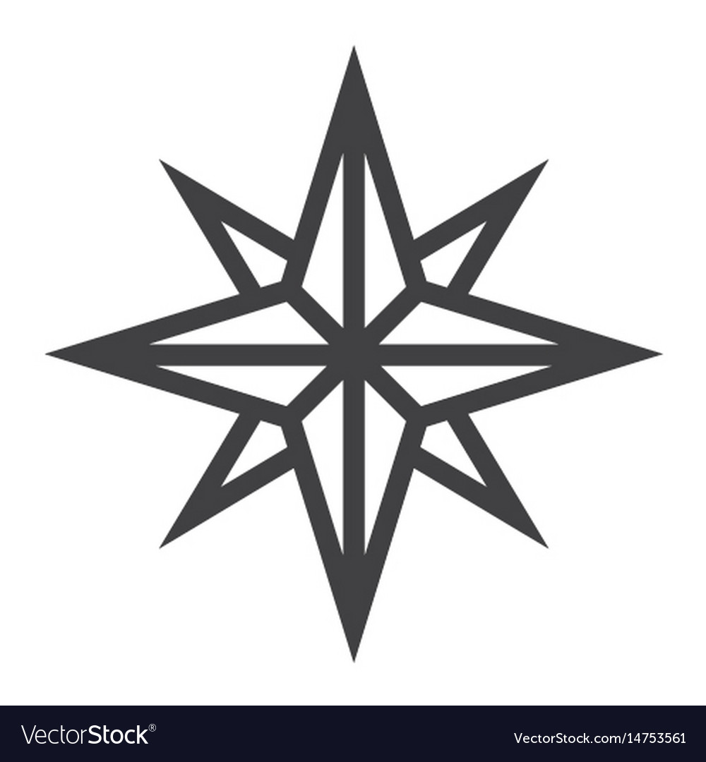 Wind rose line icon navigation and travel vector image