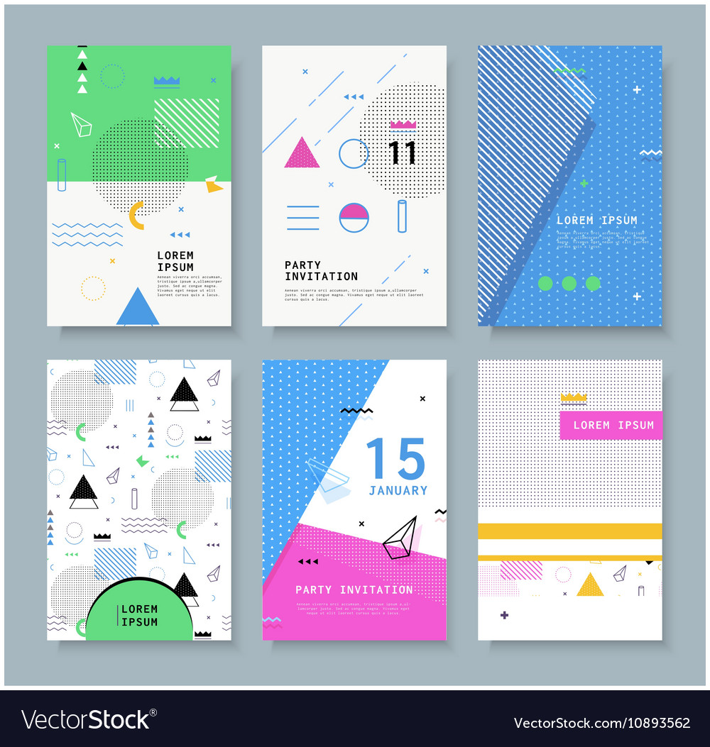 Set invitation with geometric shapes royalty free vector set invitation with geometric shapes vector image stopboris Image collections