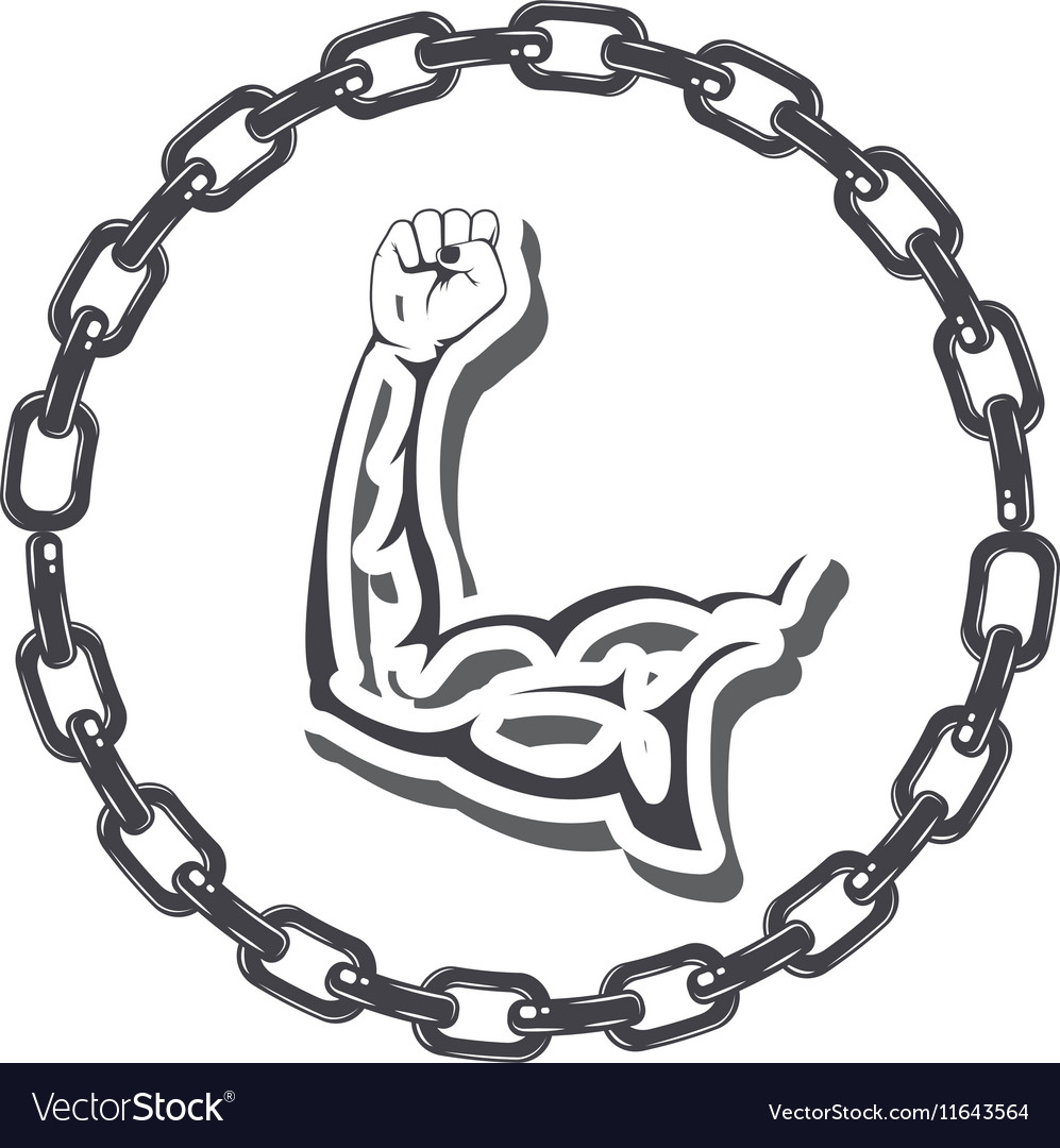 Border with chain inside a silhouette muscular arm vector image