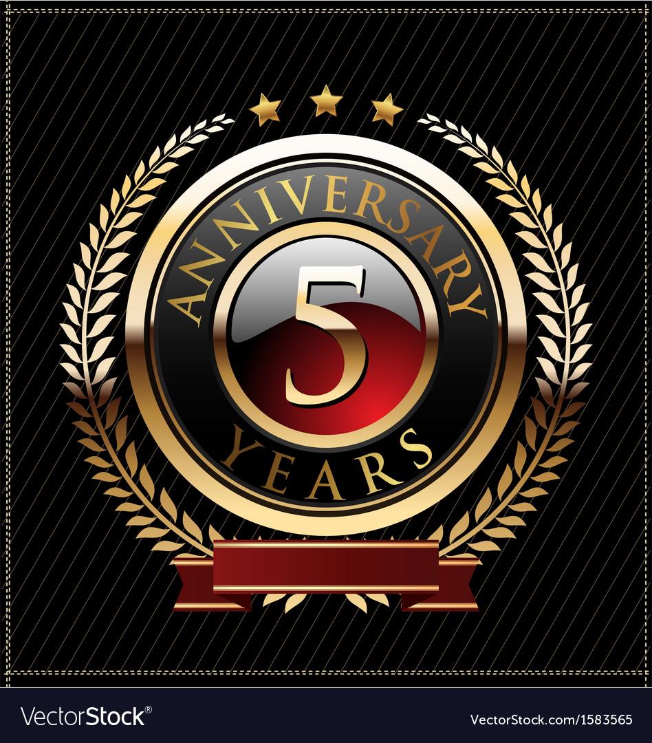5 years anniversary golden label vector image