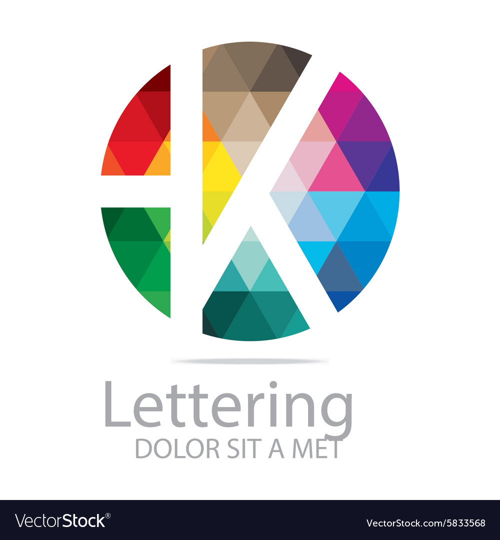 Lettering k rainbow alphabet icon vector image