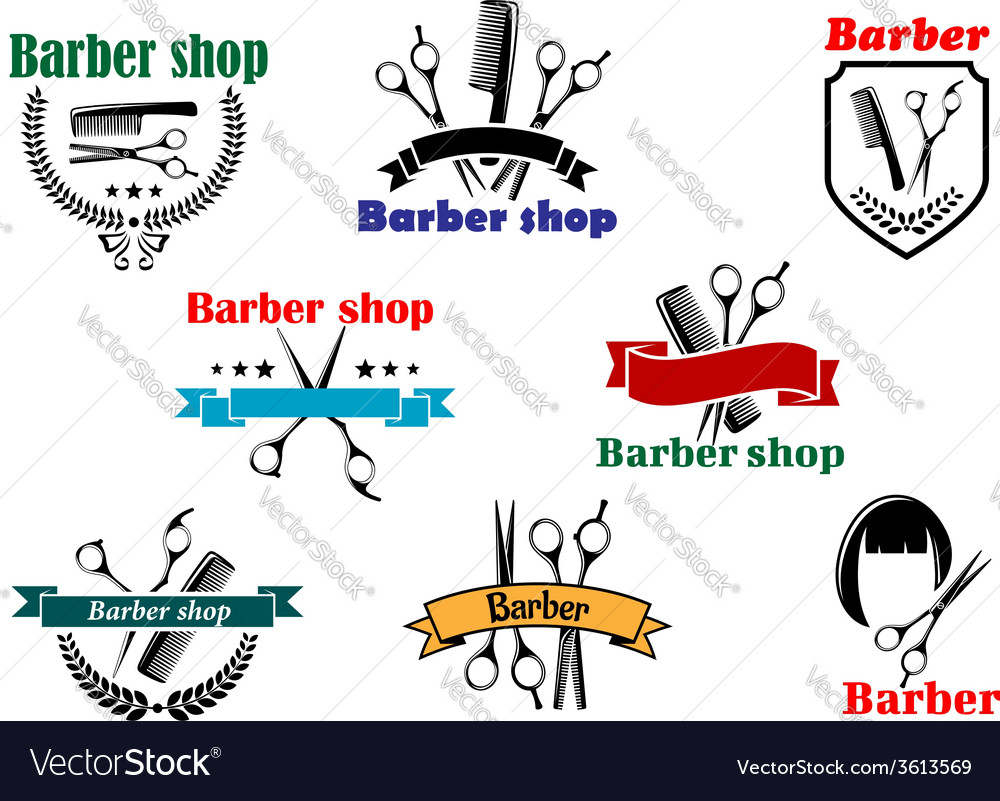 Barber shop signboard designs vector image
