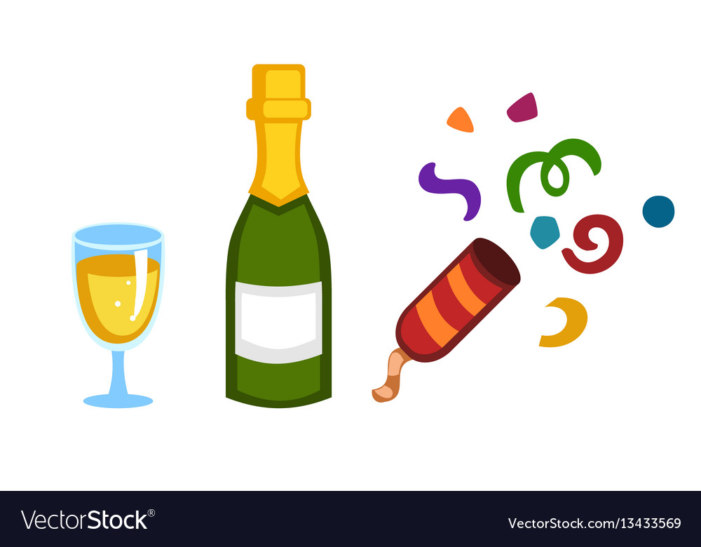 Holiday gold champagne glass new year party vector image