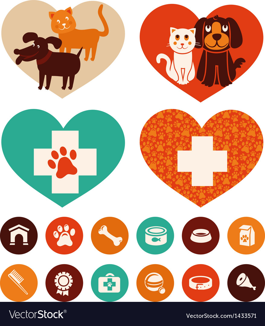 Veterinary emblems and signs vector image