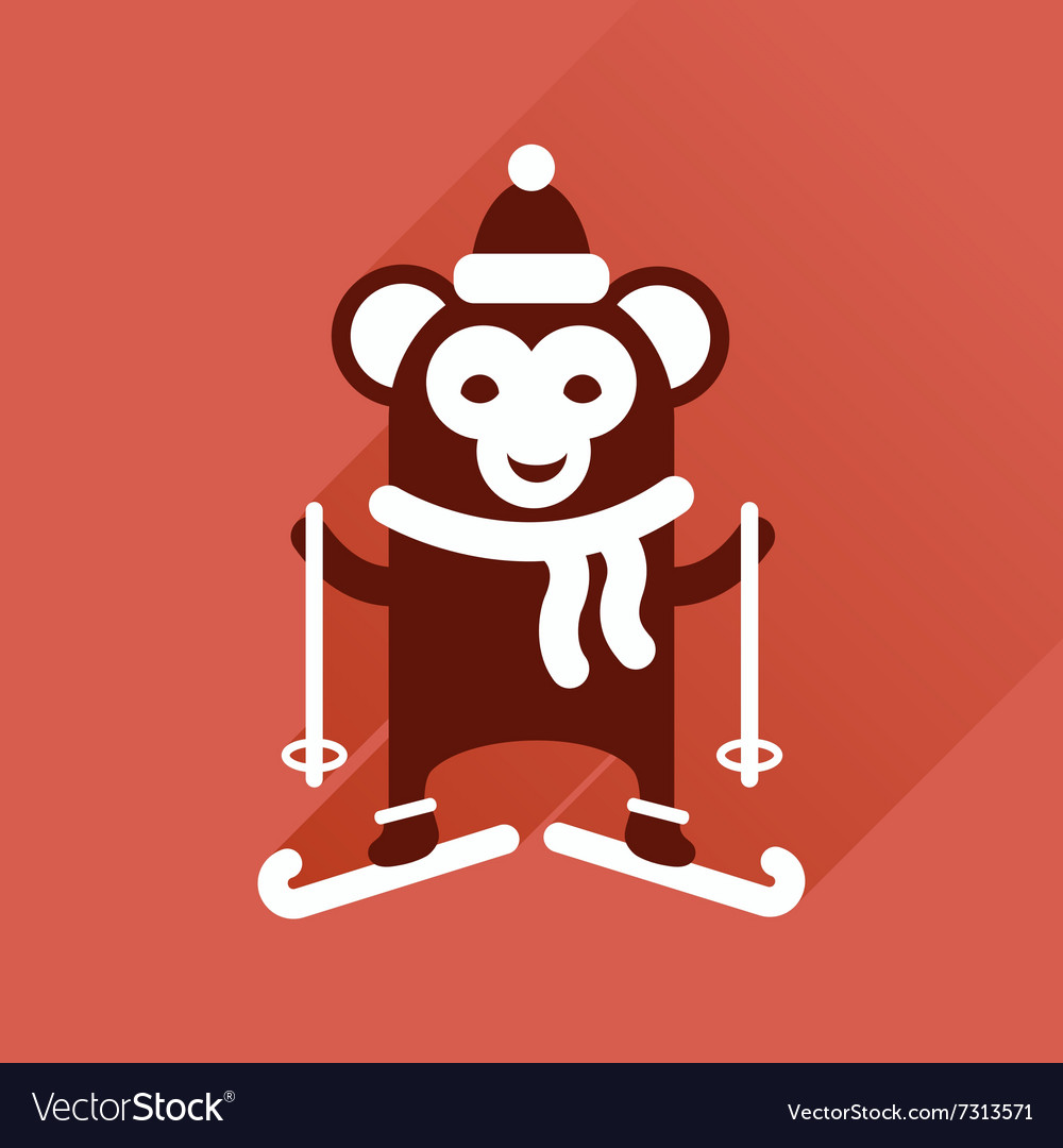 Flat icon with long shadow monkey skiing