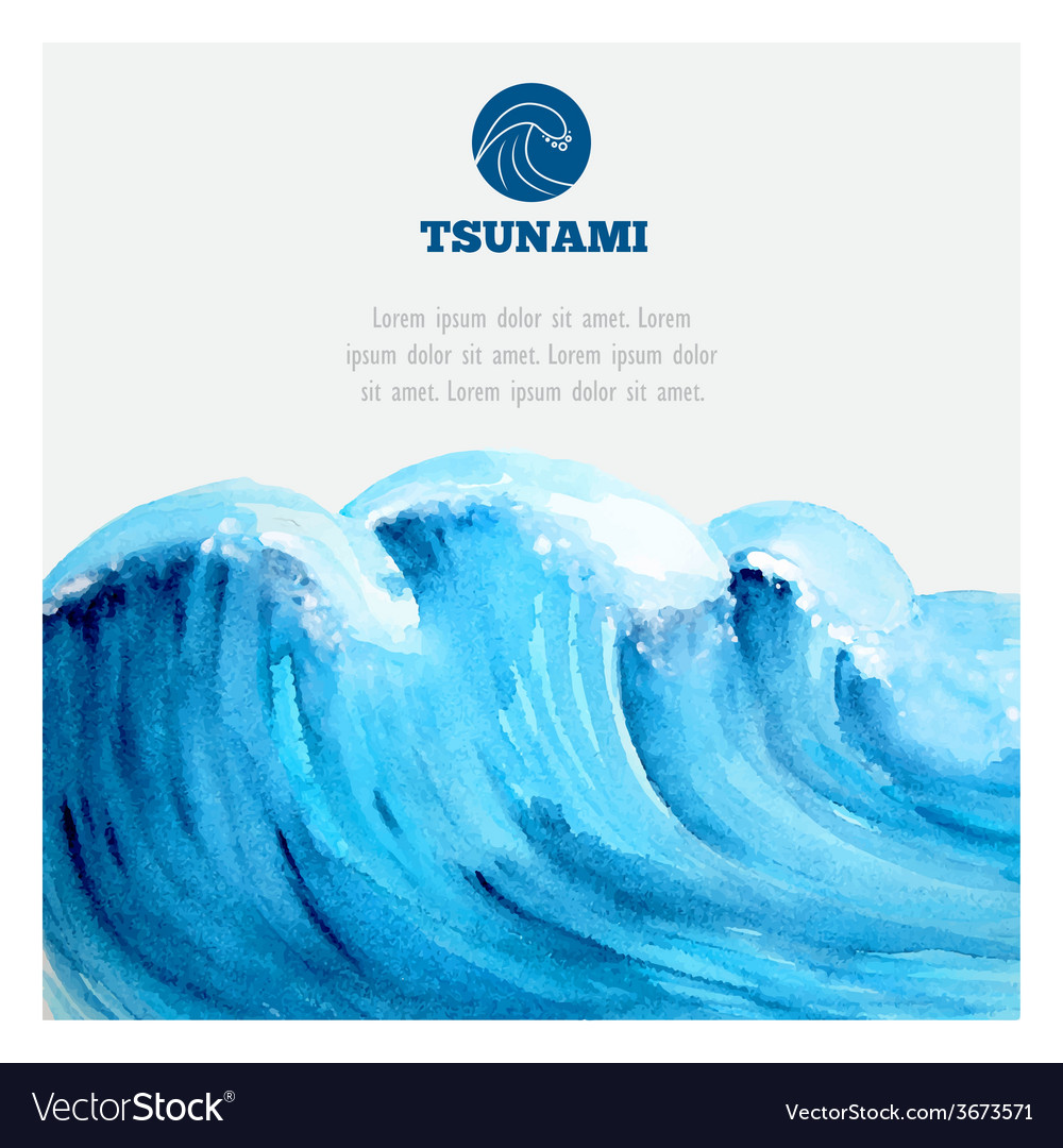 Watercolor ocean tsunami waves vector image