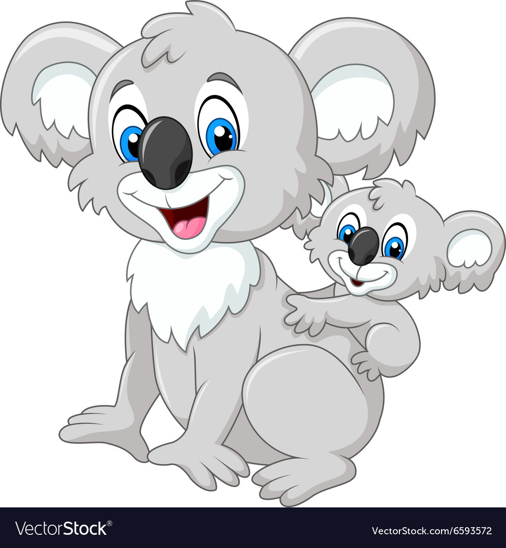 cartoon baby koala on mother back royalty free vector image
