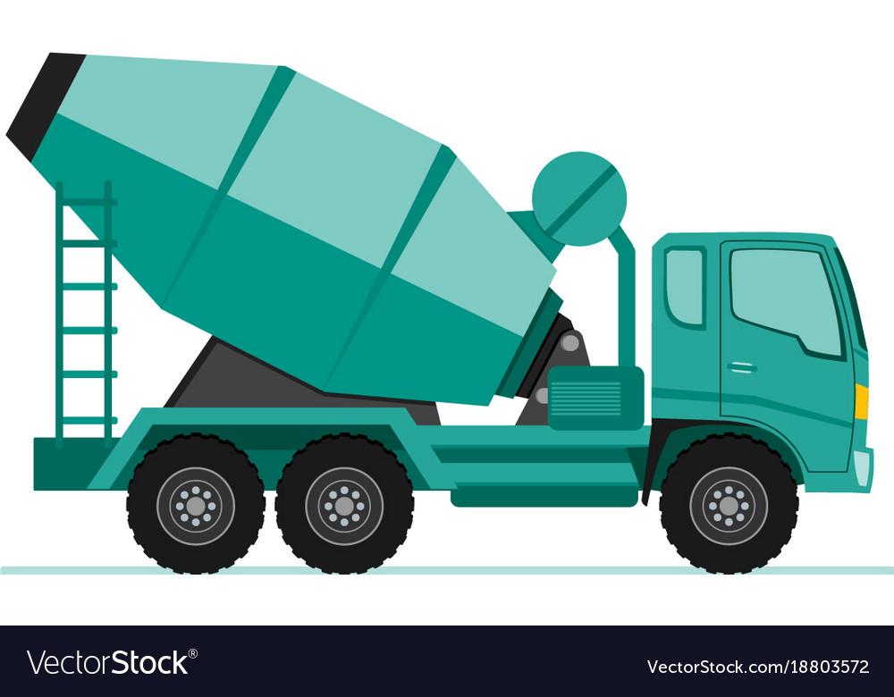 Concrete cement mixer truck icon in flat design vector image