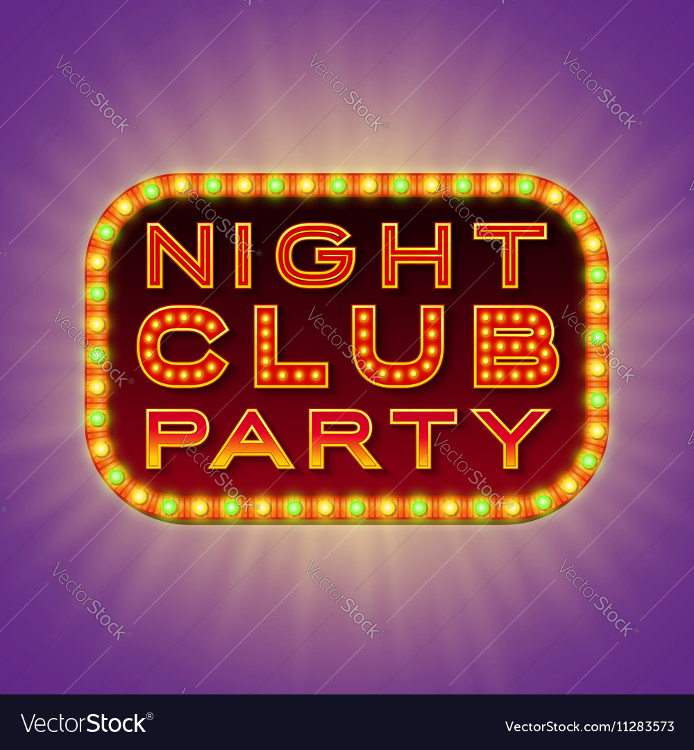 Night club party 3d retro light banner with bulbs vector image