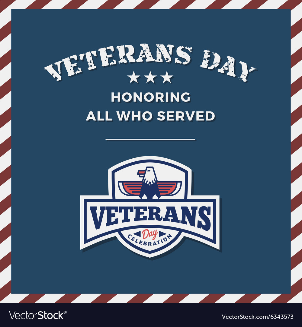 Veterans Day Background and Emblem Logo vector image