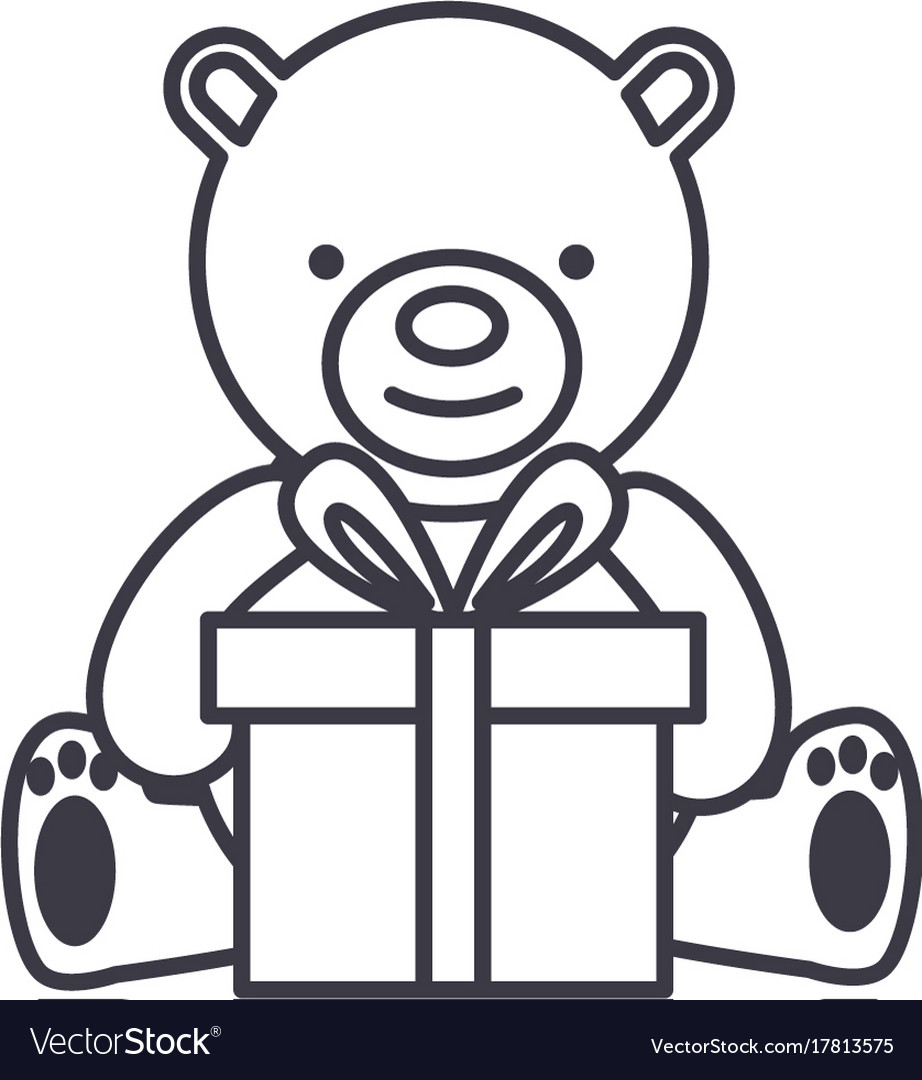 Teddy bear with gift box line icon sig vector image