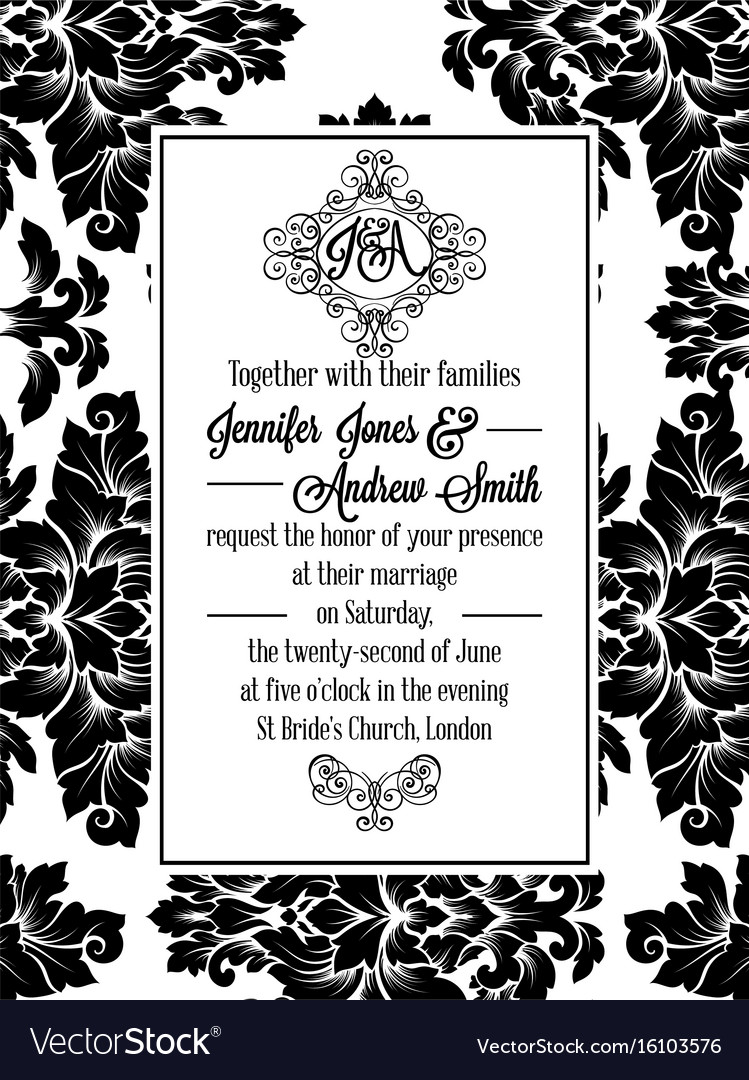Damask victorian brocade for wedding invitation vector image