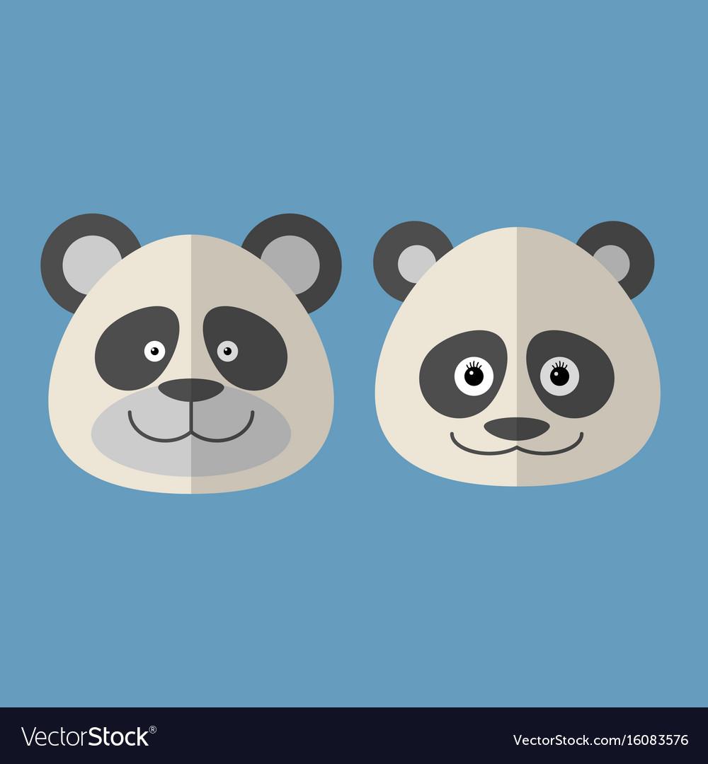 Faces of panda vector image