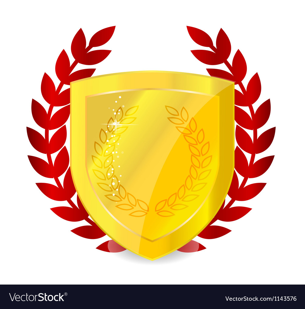 Gold and glossy protection badge emblem sign vector image
