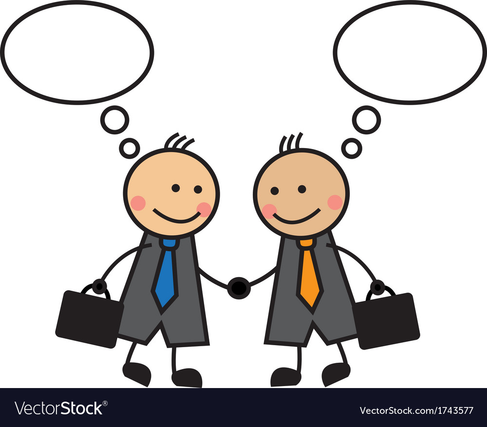 Cartoon businessmen shaking hands vector image